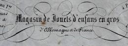 RARE ENTETE SANONER FRERES LYON JOUETS ENFANTS GROS  ALLEMAGNE ET FRANCE  LYON  ET PARIS 1860 B.E. V.SCANS+ HISTORIQUE - 1800 – 1899