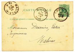 1880 POSTKAART OPDRUK VERSO'CH.PEETERS' VAN LOUVAIN(1 RING ) NAAR MALINES+(A)(1RING)  ZIE SCAN(S) - Entiers Postaux