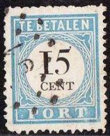 1881-1887 Portzegels Lichtblauw / Zwart Cijfer : 15 Cent NVPH  P 9 B I - Portomarken