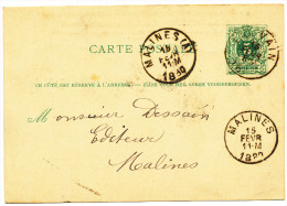 1880 POSTKAART OPDRUK VERSO'Aug.PEETERS-RUELENS' VAN LOUVAIN(1 RING ) NAAR MALINES+(A)(1RING)  ZIE SCAN(S) - Entiers Postaux