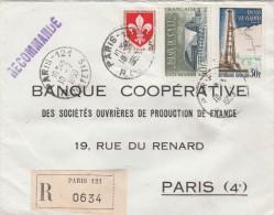 Sur Recommandée De Paris 121-Lille 1186-Hassi Messaoud 1205 Et Palais Du Cnit 1206 - 1921-1960: Modern Period