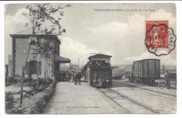 CPA 51 Tours Sur Marne La Gare Et Le Train Tramway Ligne Du CBR - Autres Communes