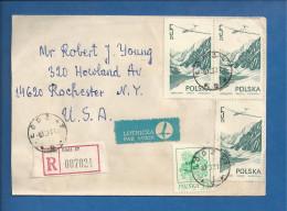 Lettre Recommandée De Pologne Pour Les USA De 1976 - YT N° 2141, PA 55- Avion - Planeur - Fleur - Trefle - 1944-.... Republic