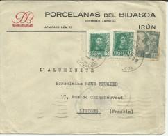 IRUN GUIPUZCOA CC PORCELANAS BIDASOA SELLOS FRANCO PERFIL MARCA CENSURA DE IRUN AL DORSO LLEGADA - 1931-Aujourd'hui: II. République - ....Juan Carlos I