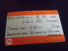 Ticket Train Liverpool Manchester - Chemins De Fer