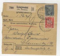 Deutsches Reich Michel No. 357 , 363 auf Paketkarte