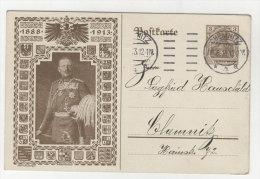 Deutsches Reich Privat Ganzsache 5 Pf  gebraucht - Jubil�ums Postkarte 1888 - 1913