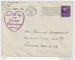 USA 1948 COVER GRETINGS VALENTINA DAYS  VERY INTERESING POSTMARK VALENTINE Nebraska. FEB 12.  Sent To VIRGINIA. - Holidays & Tourism