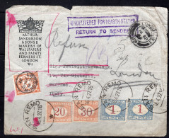 GREAT BRITAIN 1927 COVER TO ITALY WITH POSTAGE DUE STAMPS RETURN TO THE SENDER - Lettres & Documents