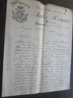 Carcassonne CAPENDU Aude 16 Janv 1888 Facture à En-tête Commercial Illustrée Jules ROUAIX VINS Français Du Minervois - France
