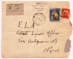 L4,UNICA COLLEZIONE,STORIA POSTALE,LETTERA .5REPUBBLICA SUBIACO X NAPOLI,55 LIRE TABBACCO.5 - 1946-60: Marcophilia