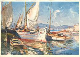 CPSM       Aquarelle    Tony Cardella  Barques à St Tropez (voilier)       P  1509 - Saint-Tropez