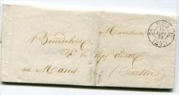 PARIS LAC Pour LE MANS Du 10/09/1853 Cachet Taxe 25 Pothion N°2513 Route De Brest 3e - 1849-1876: Classic Period