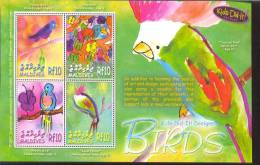 MALDIVES     2873  MINT NEVER HINGED MINI SHEET OF BIRDS ; KIDS DID IT - Non Classés