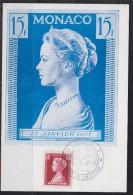 = Carte Postale Timbre 481 Naissance Princesse Caroline 5F 1er Jour 11.5.57 Correspondance Publicitaire Au Verso - Monaco