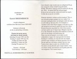 Devotie Doodsprentje Kamiel Breemersch - Kortrijk 1993 - - Décès