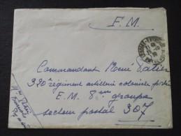 320e REGIMENT D´ARTILLERIE COLONIALE - Adressé Au Commandant René PATIER, Chef D'Escadron, Le 25 Octobre 1938 - A Voir - Postmark Collection (Covers)