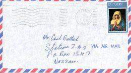 BAHAMAS. N°340 De 1973 Sur Enveloppe Ayant Circulé. Noël/Tableau De La Vierge En Prières. - Madones
