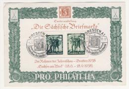 Deutsches Reich Michel No. 662 , 663 Auf Blatt Sonderausstellung Die Sächsische Briefmarke 1938 - Germania