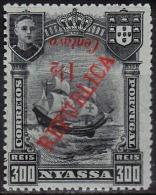 COMP.ª  Do NIASSA -1921, D. Manuel Ll, C/ Sobretaxa (LISBOA) 1/2 C. S/ 300 R. (ERRO -RARO)  * MH  Afinsa Nº 85 - Nyassa