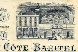 ENTETE P.COTE BARITEL  PORCELAINES FAIENCES VERRERIES LYON 1897 B.E. V.DESCRIPT.+SCANS - 1800 – 1899