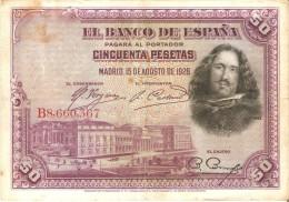 BILLETE DE ESPAÑA DE 50 PTAS DEL AÑO 1928 SERIE B CALIDAD RC (BANKNOTE) - [ 1] …-1931 : Primeros Billetes (Banco De España)