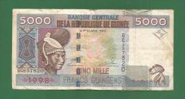 Republic Of Guinea - 5000 Guinean Franc / GNF Banknote -  1998 - Used VF As Per Scan - Guinea