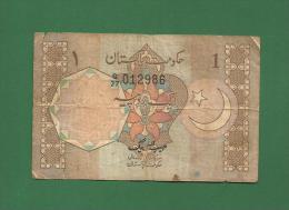Pakistan Pakistani - 1 Rupee / PKR Banknote - 1981 P-25  - Used VG Condition As Scan - Pakistan