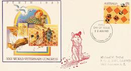 Protection Des Animaux.Congrès Vétérinaire Mondial à Perth (Australie) Un Entier Postal De 1983 - Chiens
