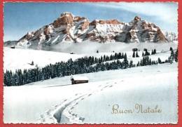CARTOLINA VG ITALIA - BUON NATALE - Paesaggio Innevato - Baita - 10 X 15 - ANNULLO 1954 - Natale