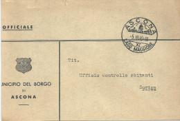 "Motiv Briefvs   ""Municipio Del Borgo Di Ascona""                1949 - Brieven En Documenten"