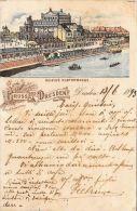 [DC5026] CARTOLINA - GERMANIA - GRUSS AUS DRESDEN - HELBIG'S ELTERRASSE - Viaggiata 1893 - Old Postcard - Dresden