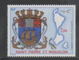 ST. PIERRE ET MIQUELON, 1974, COAT OF ARMS, SHIPS,ANCHORS,  FISH, BIRDS, YVERT. PA 58, 1v - Stamps