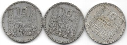 3 PIECES 10 FRANCS TURIN / 1930 / 1931 / 1938 - France