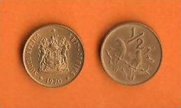SOUTH AFRICA 1970 Coat Of Arms/Sparrow 1/2 Cent Bronze KM81 - South Africa