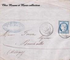 1876 LAC N° 60C THIVIERS BOURDEILLES LACHAUD FERS QUINCAILLERIE CLOUTERIE FERRIER CACHET LIMOGES 1236 - Marcophilie (Lettres)