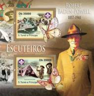 SAO TOME & PRINCIPE 2011 - Scouts, Baden Powell, Butterflies Official Issue - Insekten