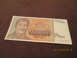 Yugoslavia 5.000.000 Dinara 1993.UNC P-132 - Yugoslavia