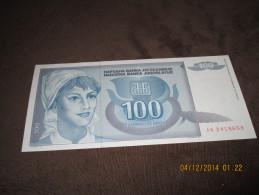 Yugoslavia 100 Dinara 1992. UNC P-112 - Yougoslavie