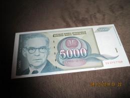 YUGOSLAVIA 5000 DINARA 1992 P-115 UNC - Yougoslavie