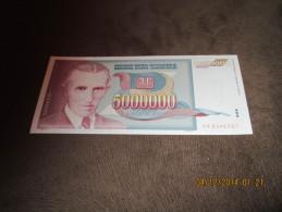 Yugoslavia 5.000.000 Dinara 1993.UNC P-121 Nikola Tesla - Yougoslavie