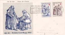 FDC FRANCE  N° Yvert 1140-41 (CROIX-ROUGE) Obl Sp FLAMME Ill 1er Jour - 1950-1959