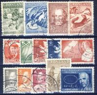 #G1123. Greenland 1957-69. 14 Items. Cancelled - Collezioni & Lotti