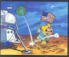 MzrD363 WALT DISNEY MICKEY ON THE MOON PLANET HONKBAL BASEBALL VLAG FLAG MARK TWAIN LESOTHO 1985 PF/MNH - Disney