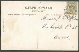 N°81 Obl. Sc Ambulant ARLON-BRUXELLES 2 Sur C.V (le Vieux Chateau De Rochefort)  Du 24 Avril 1906 Vers Anvers - 10264 - Postmark Collection