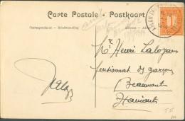 N°108 Obl. Sc Ambulant ARLON-BRUXELLES (BRUSSEL)  2 Sur C.V (le Chateau De Leignon à Ciney)  Du 27 Mai 1914 Vers Beaumon - Postmark Collection