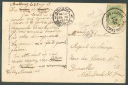 N°83  Obl. Sc Ambulant MONS-TOURNAI Sur C.V (Chateau Du Prince De Ligne à Antoing) Du 29 Septembre 1913 Vers Molenbeek - - Postmark Collection