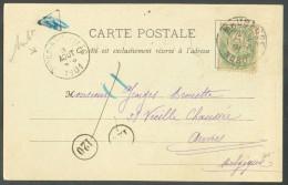 France 5 Centimes BLANC  Obl. Dc MAUBEUGE Sur C.V. Avec Sc Ambulant MONS-BRUXELLES - 10272 - Postmark Collection