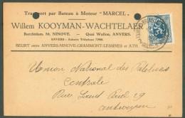 50 Centimes LION  Obl. Ambulant Sc TOURNAI-BRUXELLES DOORNIK-BRUSSEL 2 Sur C. (transport Par Bateau W. Kooyman-Wachtelae - Postmark Collection