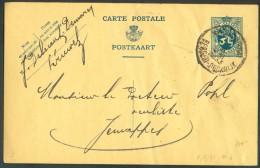 EP Carte Lion Obl. Ambulant Sc MONS-TOURNAI BERGEN-DOORNIK Vers Jemappes - 10274 - Postmark Collection